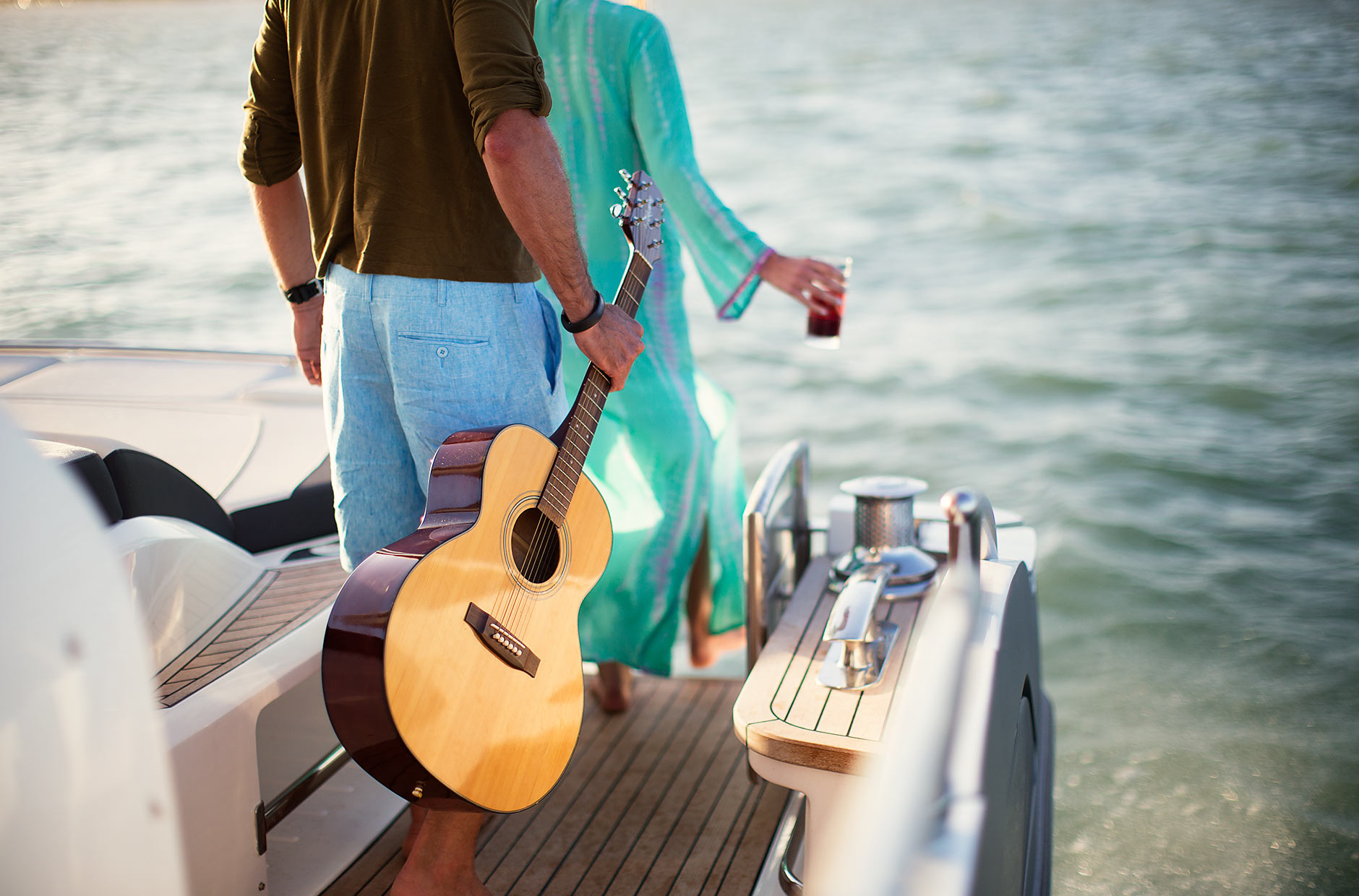 Guitar being carried on yacht